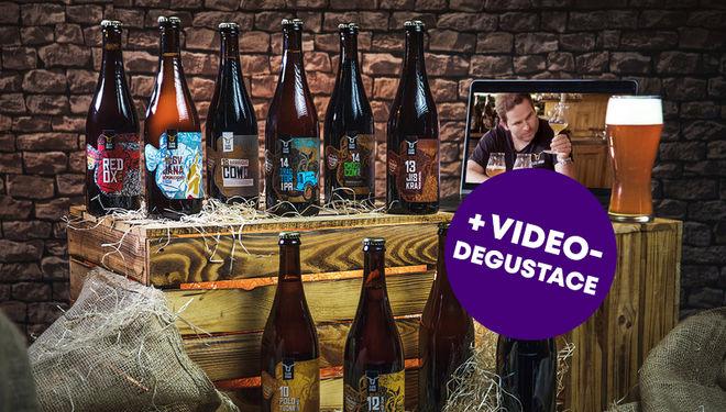 Dárkový balíček 10 druhů piv + videodegustace s pivovarem Zlatá Kráva