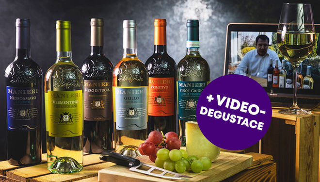Dárkový balíček šesti druhů italských vín + videodegustace se sommeliérem